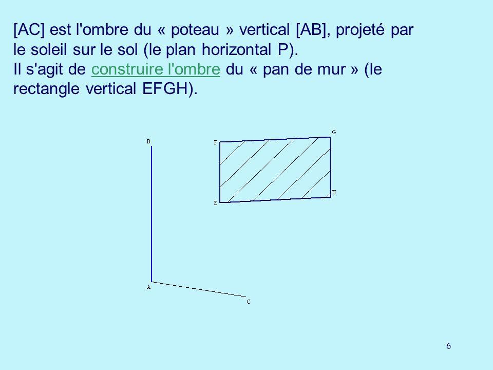 [AC] est l ombre du « poteau » vertical [AB], projeté par le soleil sur le sol (le plan horizontal P).